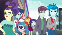 Sunset, Rarity, and Canterlot citizens looking up EGDS9