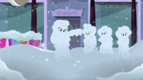Rarity, AJ, Fluttershy, and RD covered in snow EGDS33