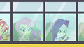 Fluttershy, Spike, and Rarity riding the CHS bus EG4.png