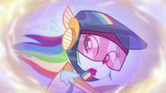 Rainbow looking behind while motorbiking EGFF