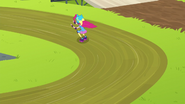Pinkie speeds down the track EG3