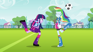 Rainbow Dash swipes the ball EG
