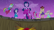 Twilight and friends standing over Sunset EG