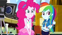 Pinkie Pie and Rainbow Dash watch Rarity EGDS12
