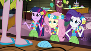 Twilight, Fluttershy, and Rarity unsure of Pinkie's theme EG2
