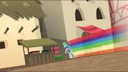EG MF Rainbow biegnie za podejrzaną osobą