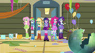 Twilight and friends in the ruined gym EG