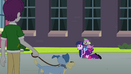 Twilight acting like a pony in front of a student EG