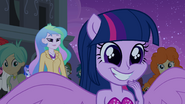 Twilight smiles at Spike and Rarity EG