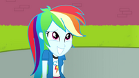 Rainbow Dash looking embarrassed at Celestia SS8