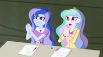 Celestia and Luna applaud Trixie and the Illusions EG2