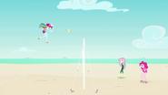 Rainbow spikes the ball over the net EGFF