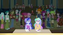 Celestia and Luna applaud the Rainbooms EG2
