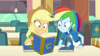 AJ and Rainbow look confused at Rarity's yearbook EGDS4