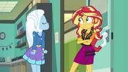 Trixie harrumphing at Sunset Shimmer EGFF