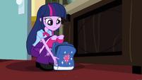 Twilight sets her bag down next to Celestia's desk EG