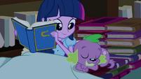 Spike falls asleep next to Twilight EG