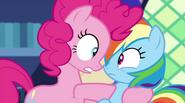 Pinkie Pie pulls Rainbow Dash in close EG2