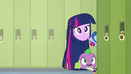 Twilight and Spike poking their heads around a corner EG