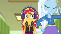 Sunset Shimmer watches Trixie walk past her EGDS5