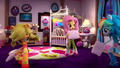 AJ, Fluttershy, and Rainbow having a pillow fight EGM4.png