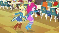 Applejack and Pinkie Pie pointing