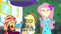 Sunset, AJ, and Fluttershy at breakfast CYOE11a