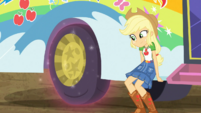 Applejack propping up the Rainbooms' bus EGDS12