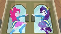 Pinkie Pie and Rarity opening the doors