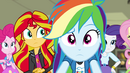 Pinkie, Sunset, Dash, and Rarity concerned EG2