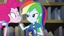 Rainbow puts her hand on Pinkie's face EG3