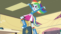 Rainbow Dash on top of a chair EG