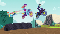 Rainbow tackles vine; Sunset and Indigo jump row of tires EG3
