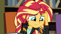 Sunset Shimmer writing in distress EG3