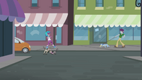 DJ Pon-3 walking toward unnamed boy and dog EG2