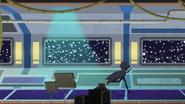EG MF Tajemnicza postać biegnie przez statek kosmiczny