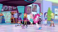Sunset Shimmer and friends outside the game store EGDS2