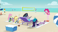 Equestria Girls lying on beach towels EGFF