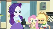 Rarity, Fluttershy, and AJ displeased by Rainbow's words EG2