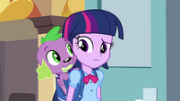 Twilight and Spike about to meet Principal Celestia EG