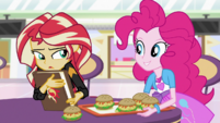 Pinkie Pie sits down next to Sunset Shimmer EGS3