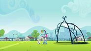 Soccer ball rolls next to Rainbow's feet EG