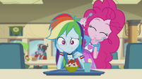 Pinkie drumming on Rainbow Dash EG2