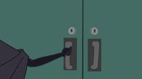 Cloaked figure locks Rainbow in the storage room EGS2