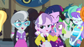 Diamond Tiara and Silver Spoon in crowded hallway EG.png
