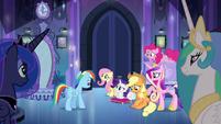 Main 5 and princesses waiting for Twilight EG