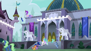 Sunset and princesses approach Canterlot Library EGFF