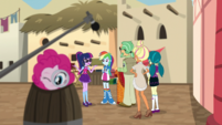 Pinkie Pie pops out of barrel with magnifying glass EGS2