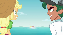 Applejack and Timber grinning competitively EGDS20