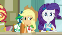 Applejack and Rarity looking worried EGDS6